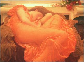 Flaming June1895 Model is Dorothy Dene who sat often for Leighton.